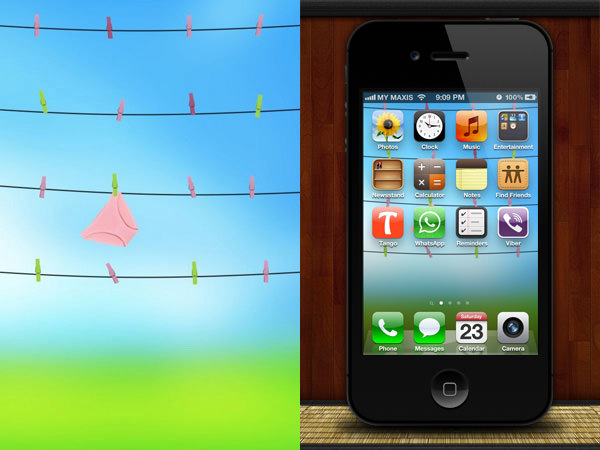 hang your iPhone apps out to dry with this funny iPhone wallpaper 600x450