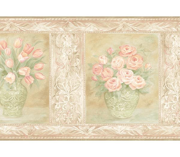 ANTIQUE CORAL ROSE FLORAL WALLPAPER WALL BORDER 600x525