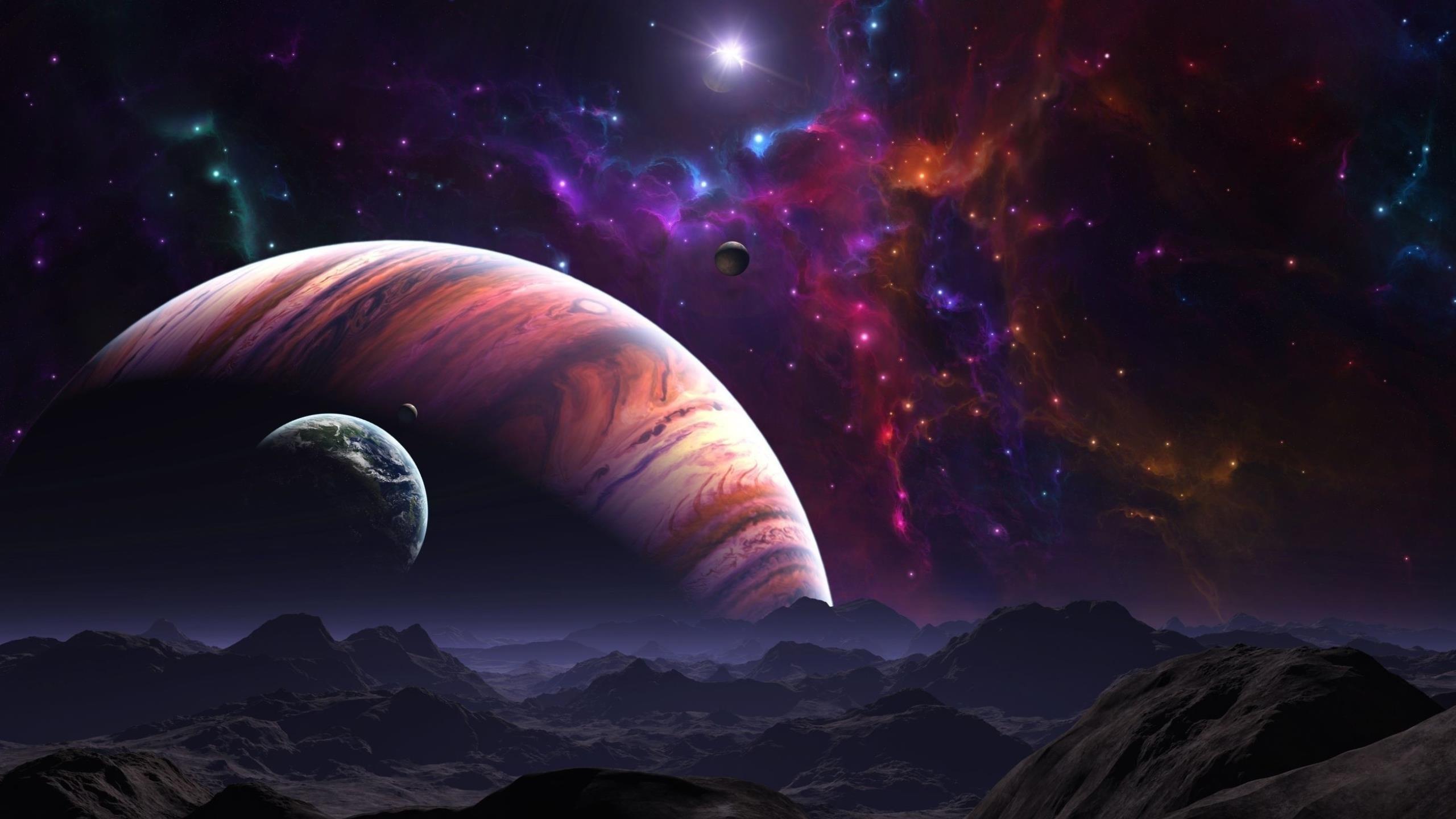 Space planet galaxy planets star stars univers wallpaper 2560x1440 2560x1440