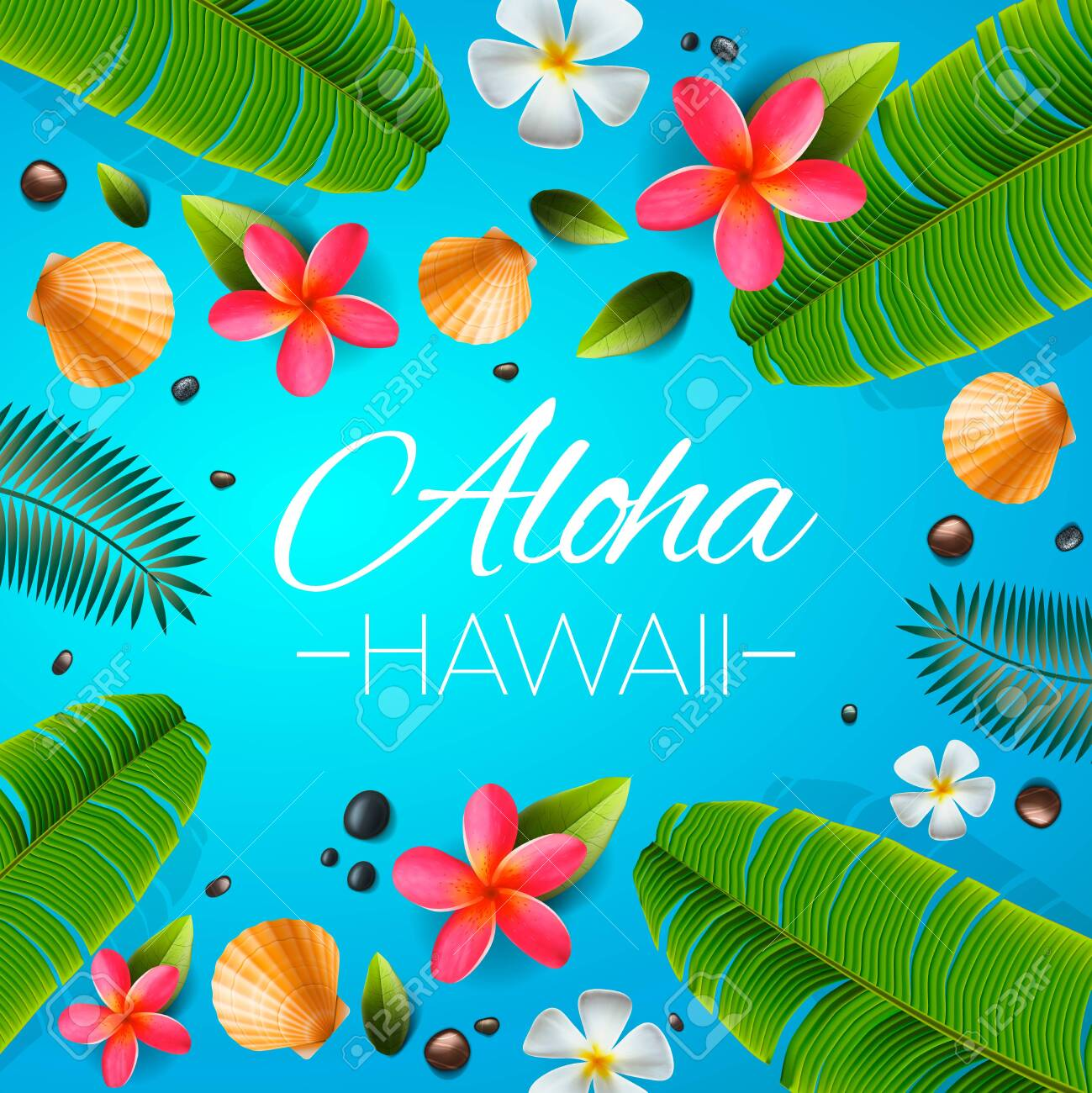 Aloha Hawaii Background Tropical Plants Leaves And Flowers 1299x1300