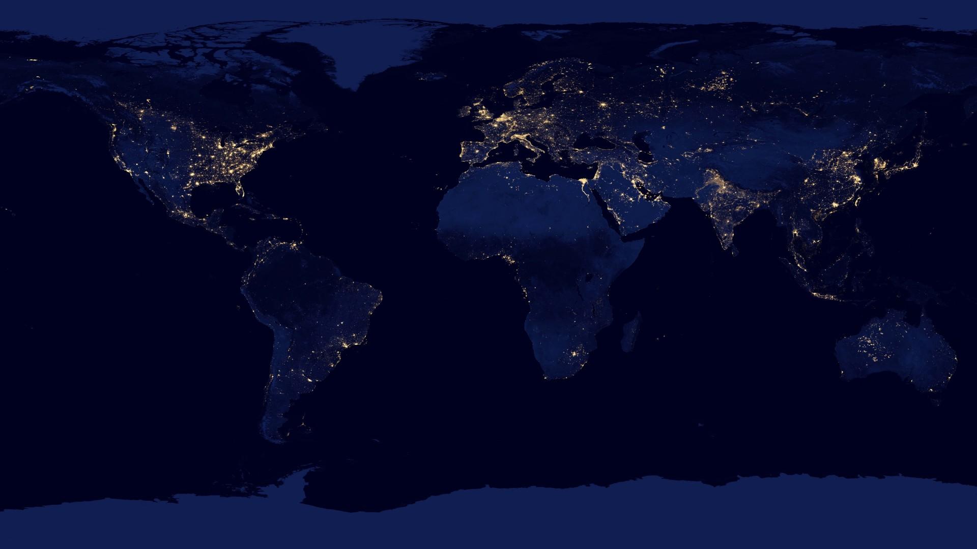 Wallpaper night Earth planet map NASA lights Earth at night 1920x1080