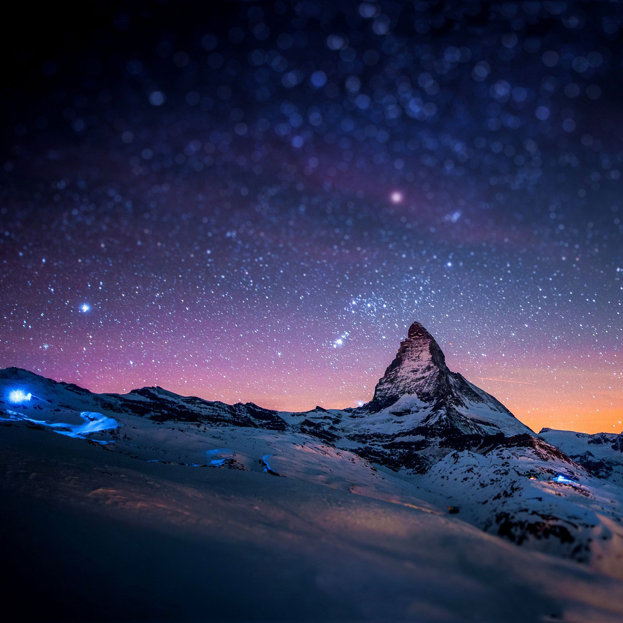 Samsung Galaxy Tab 101 Stars and snow night in the Alps wallpapers 1280x1280