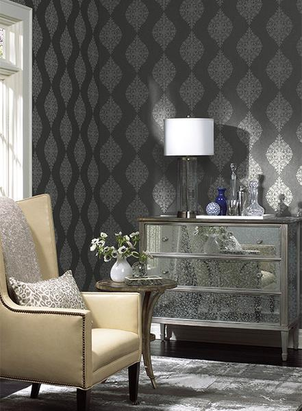Mikado Wallpaper in Charcoal by Ronald Redding for York Wallcoverings 441x600