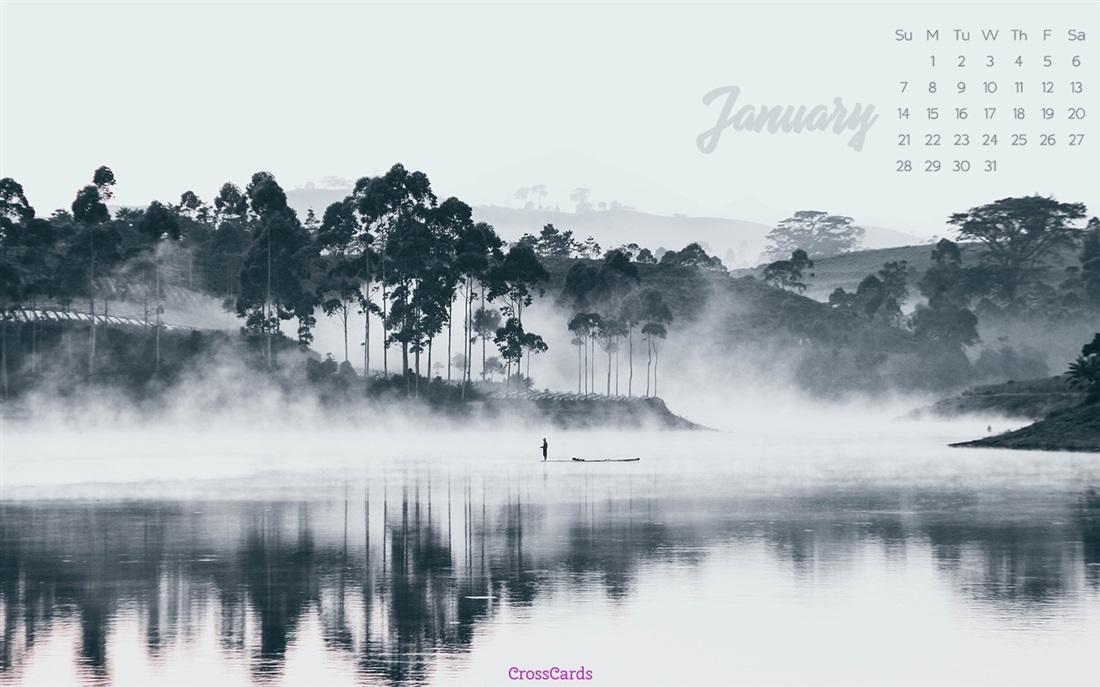 January 2018   Mist Desktop Calendar  January Wallpaper 1100x687