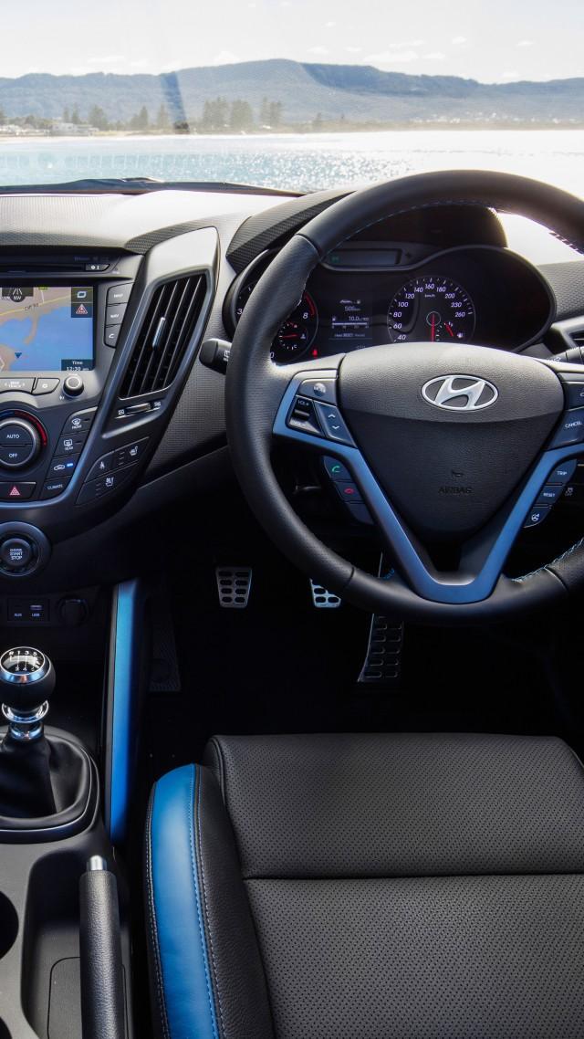 Wallpaper Hyundai Veloster Street Turbo blue interior Cars 640x1138