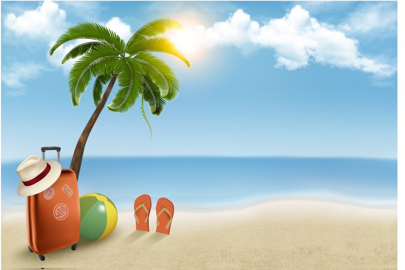Summer Beach Vacation Background Vector Vector Graphic Download 800x533
