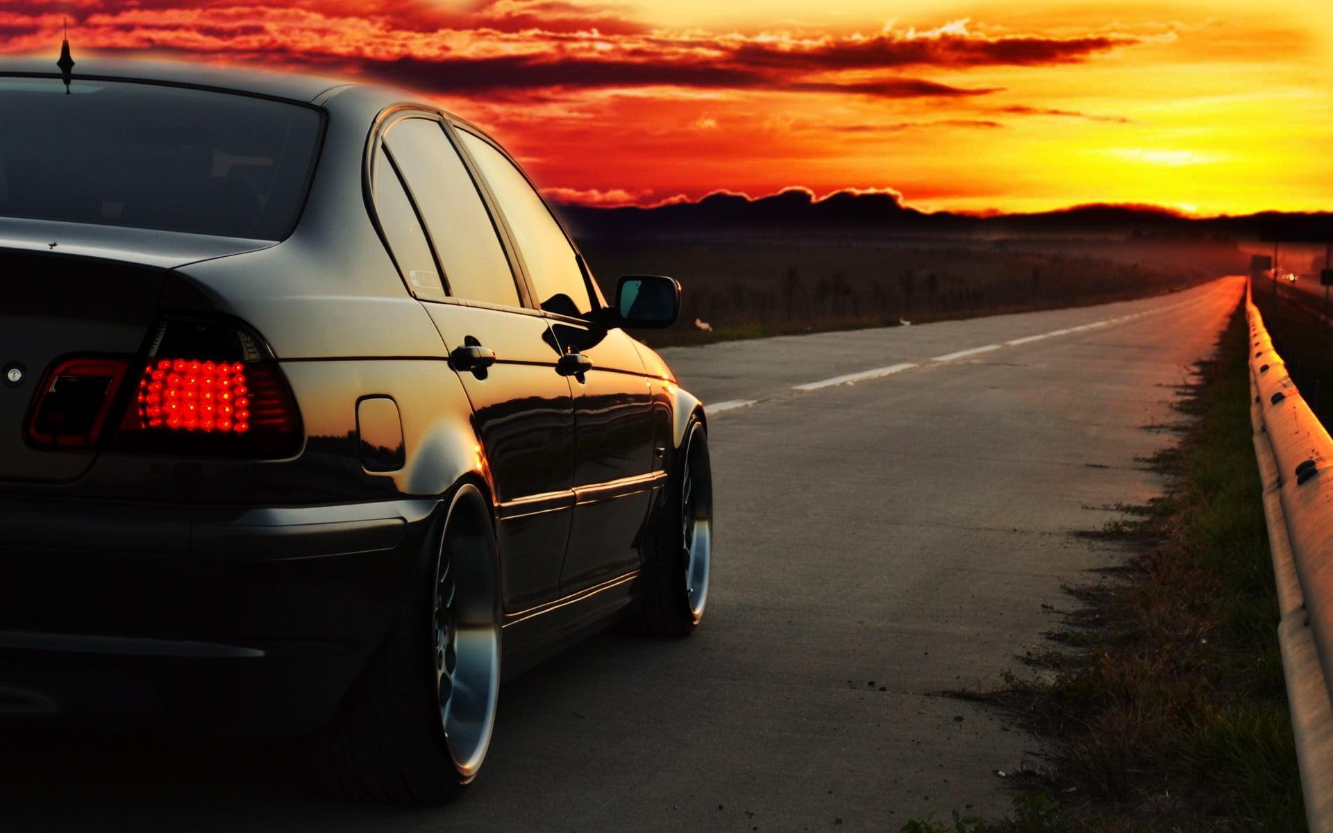 Black sedan BMW E46 Photoshop sunset road HD wallpaper 1920x1200