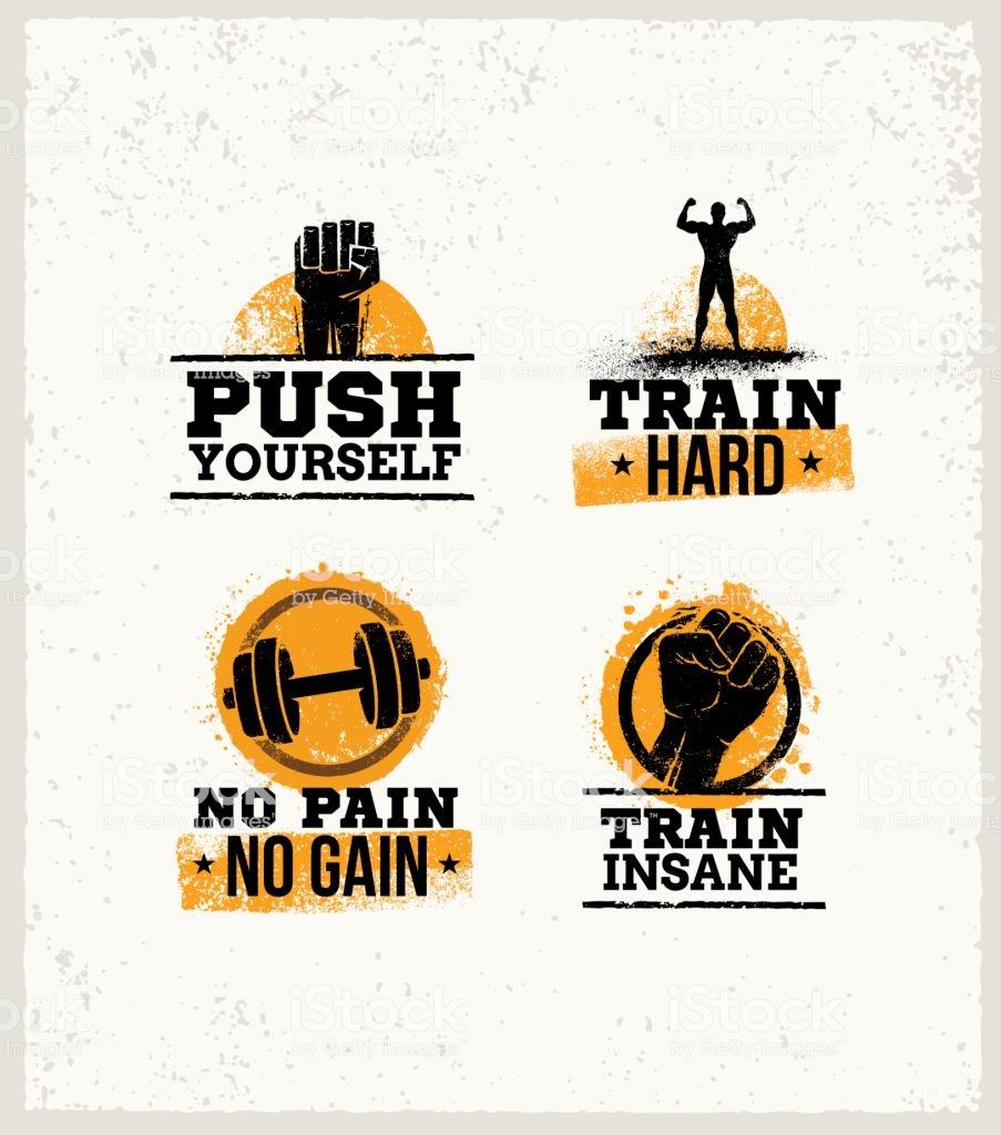 Strong Fitness Gym Workout Motivation Design Elements Sport Fit 903x1024