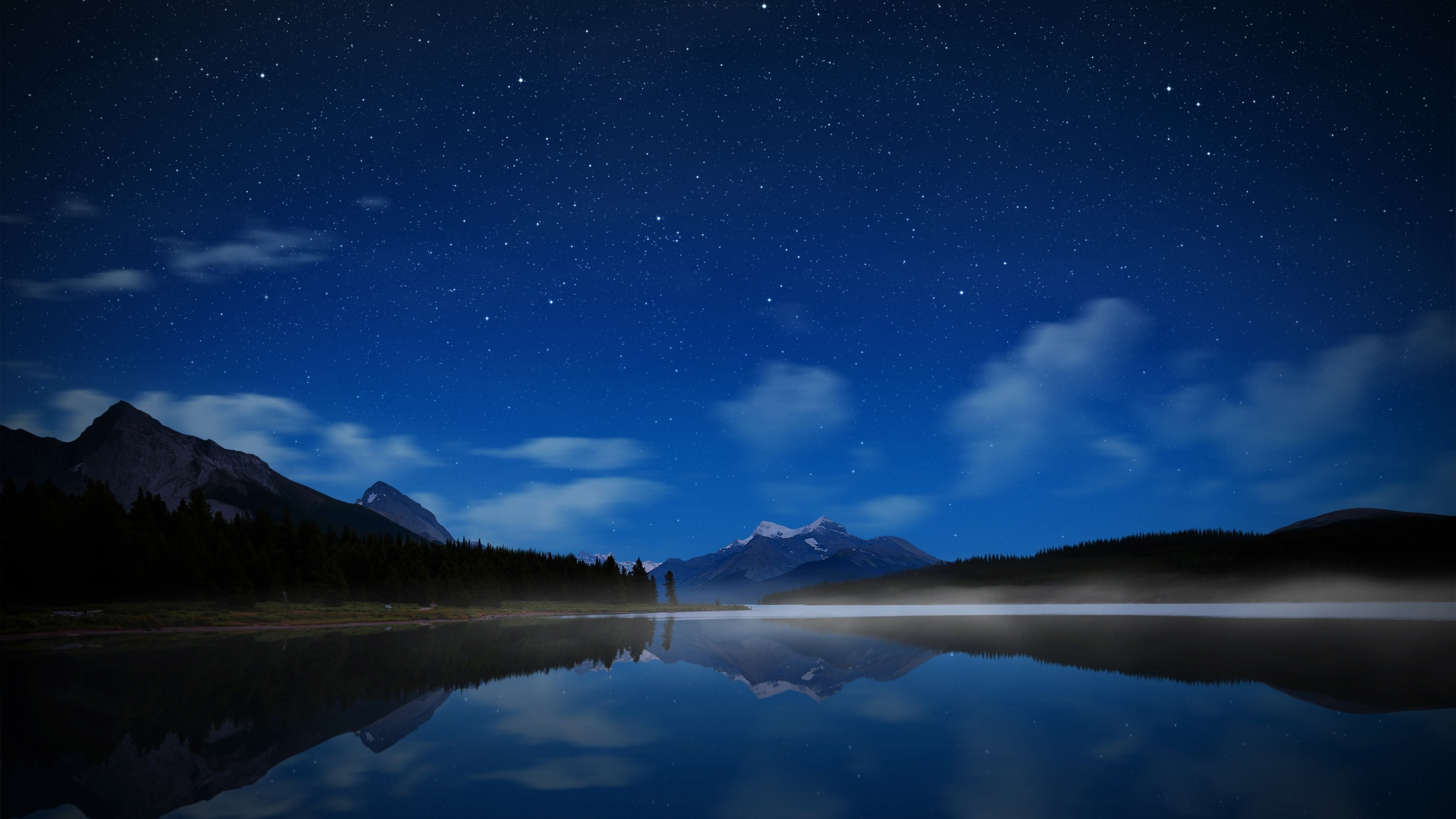 Lake Stars Water smooth surface Fog Wallpaper Background 4K Ultra 3840x2160