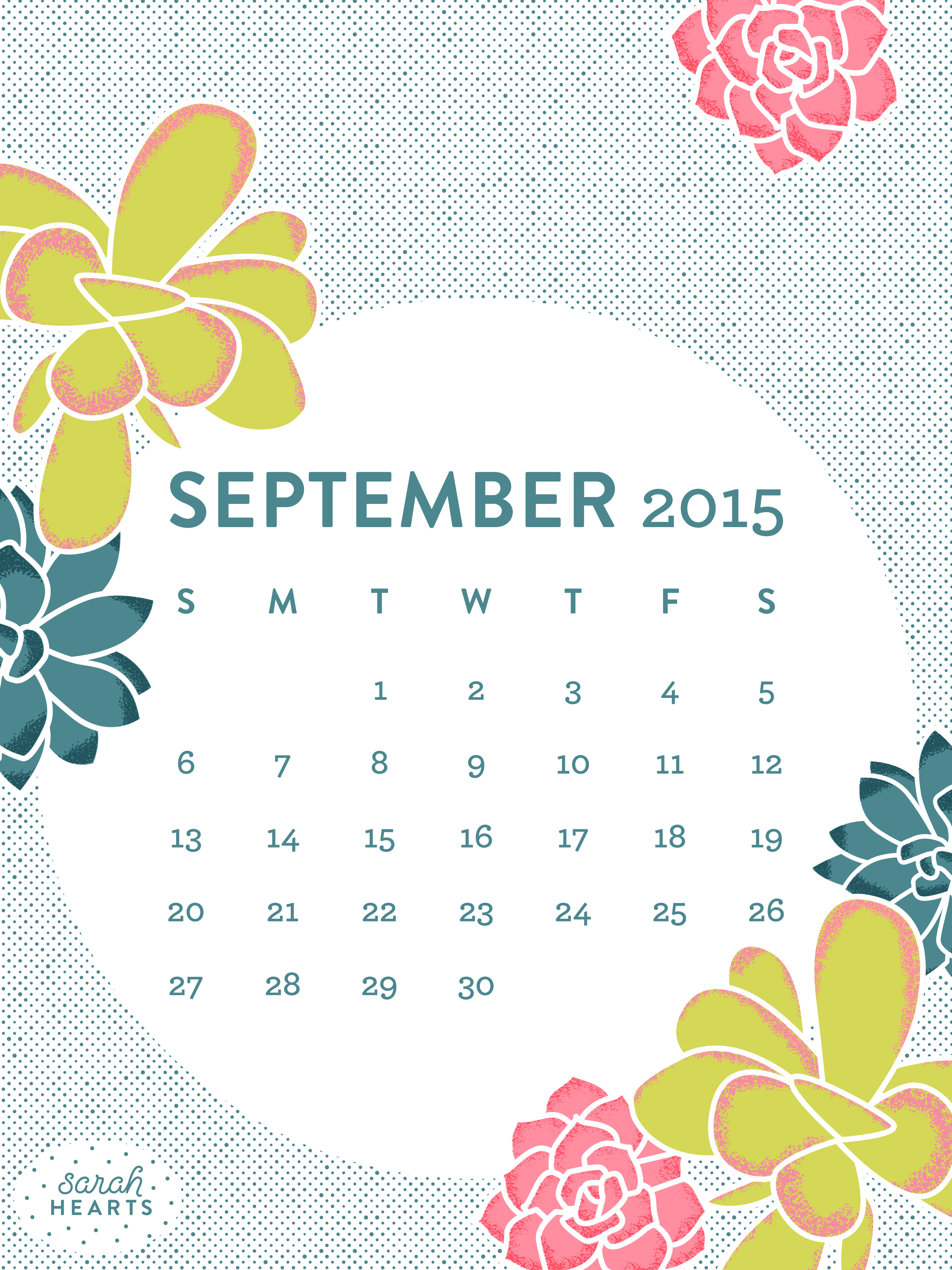 September 2015 Calendar Wallpaper   Sarah Hearts 3200x4267