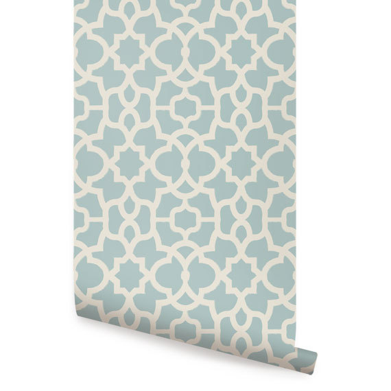 Trellis Dusky Blue Peel Stick Fabric Wallpaper Repositionable 570x570