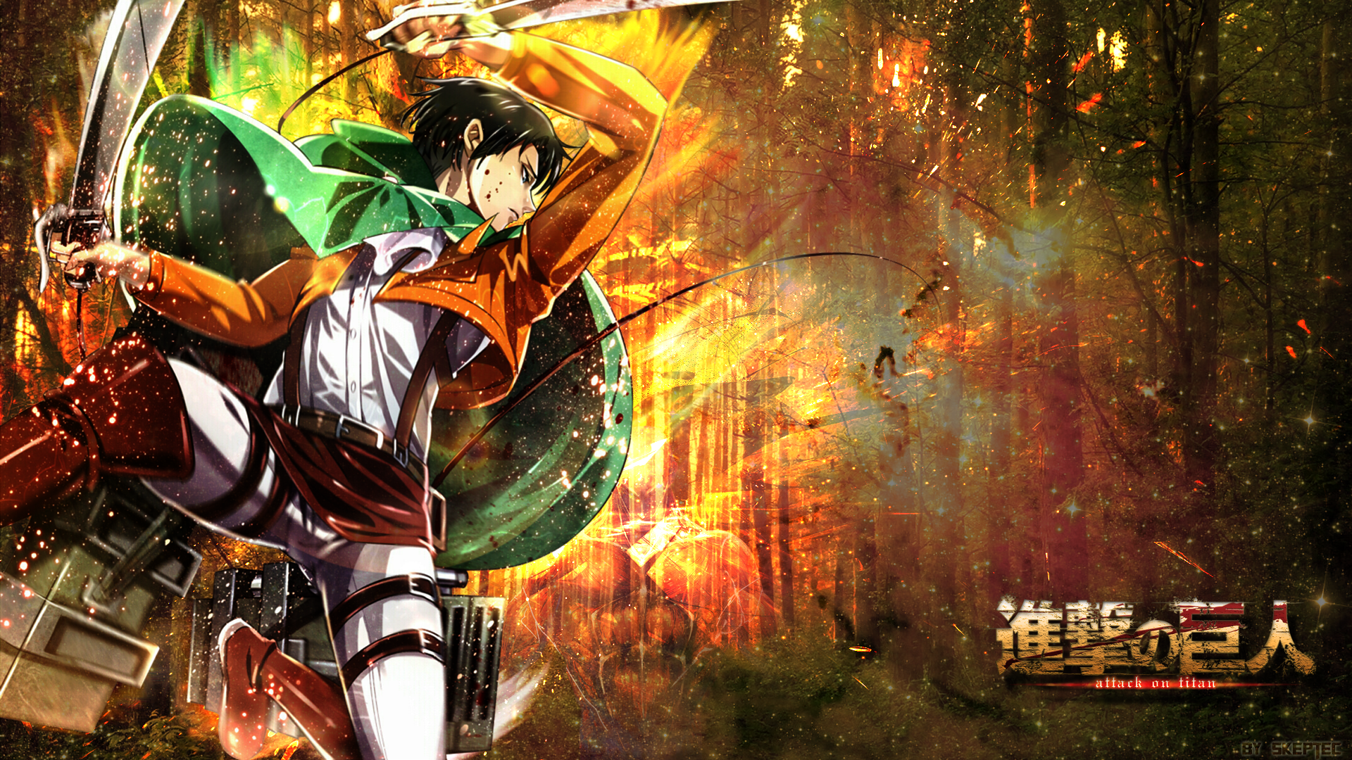 Attack on Titan   Levi Wallpaper   Woodland by skeptec 1920x1080