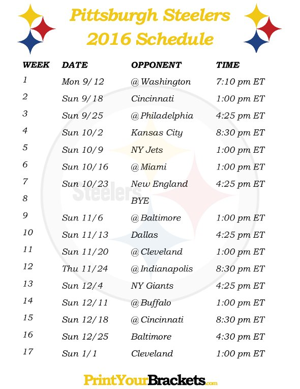 picture regarding Printable Steelers Schedule named Free of charge down load Printable Pittsburgh Steelers Soccer