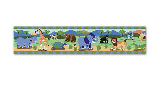 Safari Jungle Kids Wallpaper Border Wild Animals for Boys Green Blue 550x300