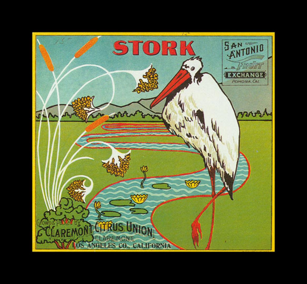 Stork Oranges   Vintage Fruit Crate Labels Wallpaper Image 1166x1080