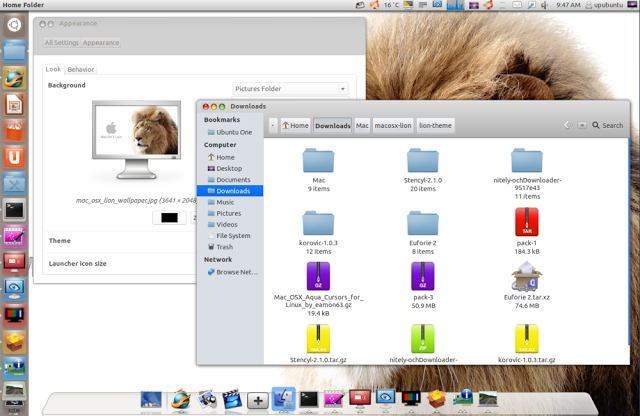 Pack Mac OS X Lion Theme Icons Cursors and Wallpapers for Ubuntu 640x416