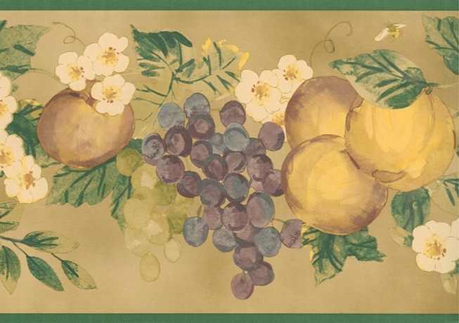 Green Apple and Grapes Wallpaper Border   Kitchen Bathroom Wallpaper 653x460