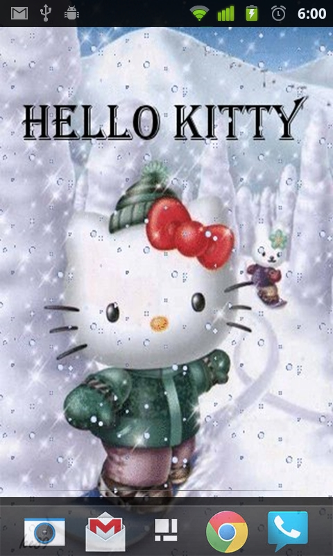 Download Hello Kitty Winter Live Wallpaper for your Android phone 480x800