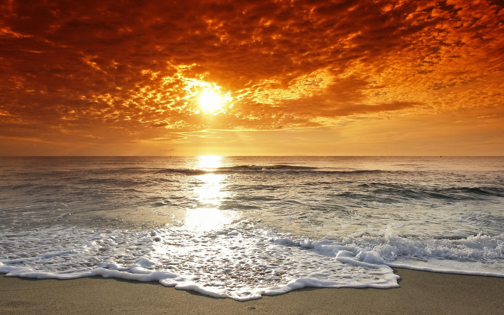 Download Free 1920x1200 Sunset Beach Tide Desktop ...