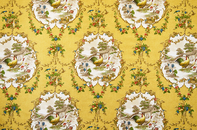 Yellow And Red Toile Wallpaper Wallpapersafari