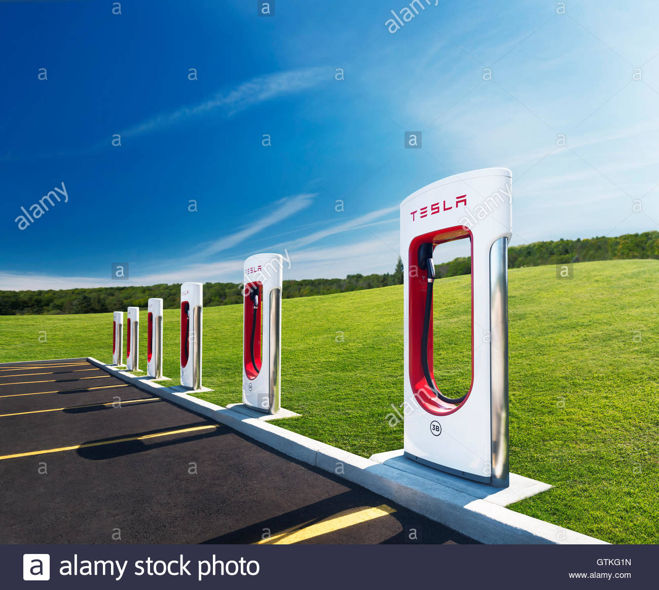 Tesla Supercharger new charging station with green nature scenery 1300x1164