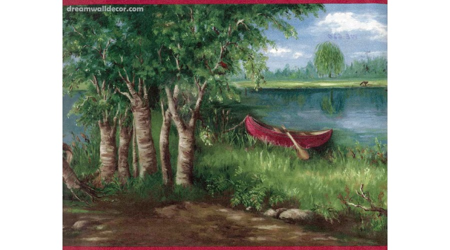 Home Lake Boat scenery Wallpaper Border 900x500