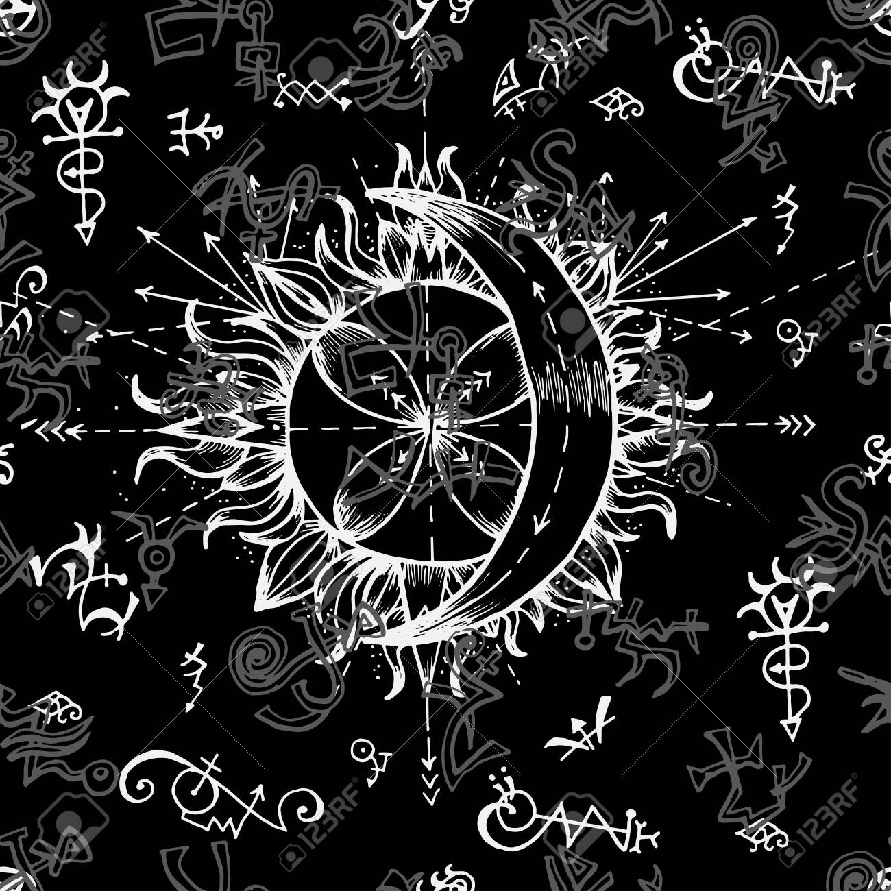 Seamless Background With Symbols Of Sun And Moon Alchemy Vector 1300x1300