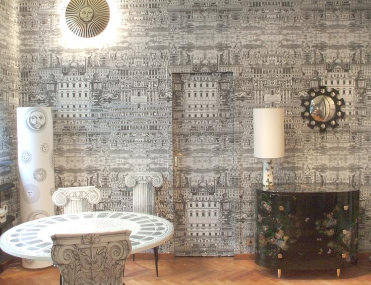 fornasetti riflesso wallpaper wallpapersafari. Black Bedroom Furniture Sets. Home Design Ideas