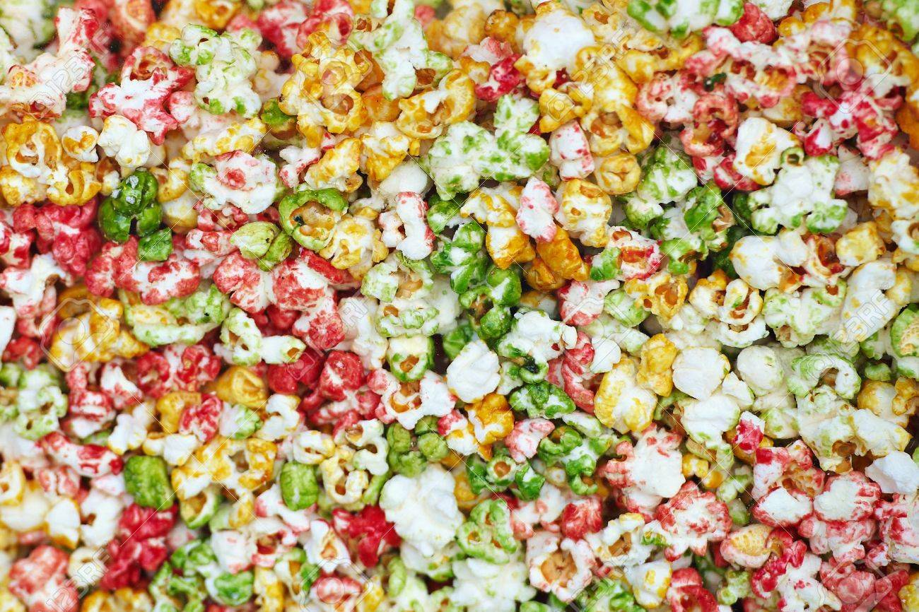 Multicolored Sweet Popcorn Background Stock Photo Picture And 1300x866