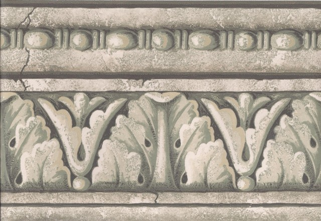 Grey White Stone Column Molding Wallpaper Border traditional wallpaper 640x440