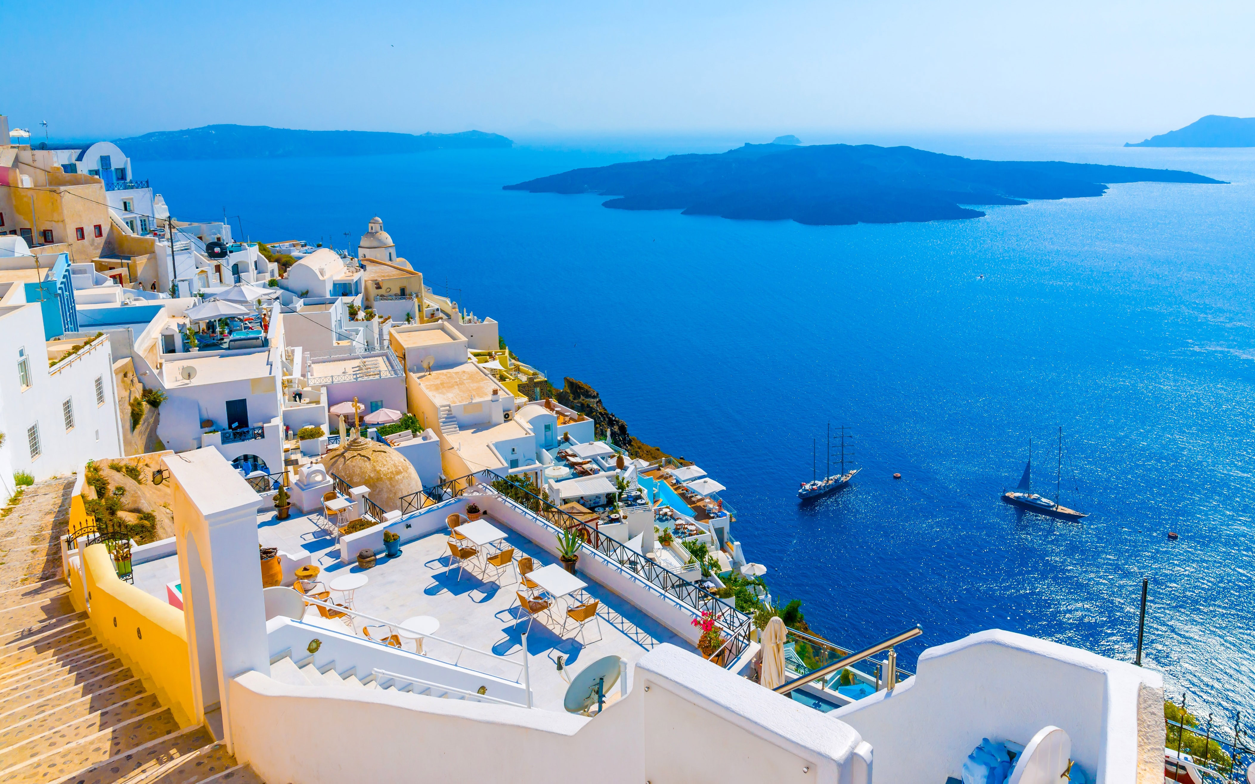 Santorini Island In Greece White Architecture Blue Sea Beautiful 4210x2631