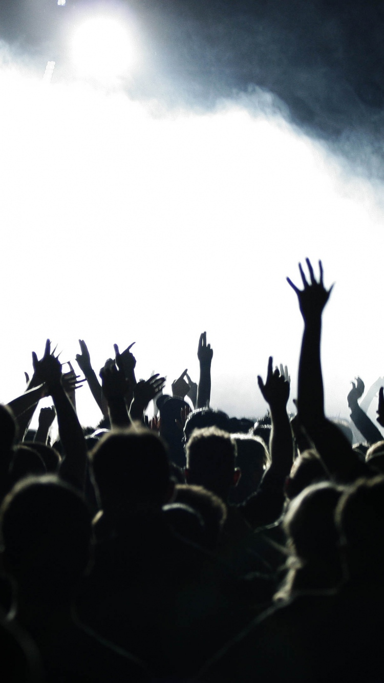 Download Wallpaper 750x1334 people hands concert music crowd 750x1334