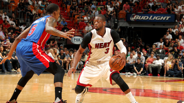 Dwyane Wade 3 of the Miami Heat handles the ball during the game 640x360