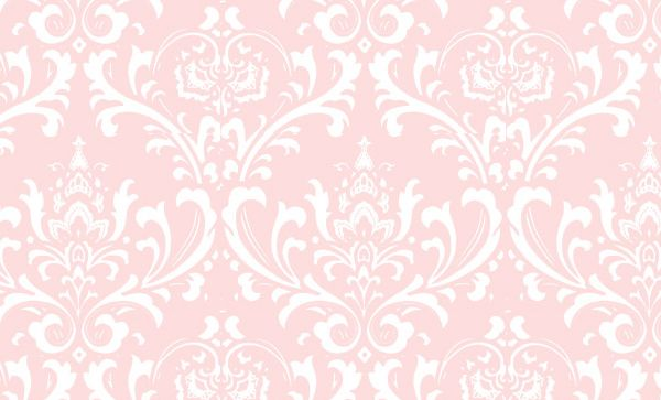 Pink and white damask wall paper C dressing room Pinterest 600x363
