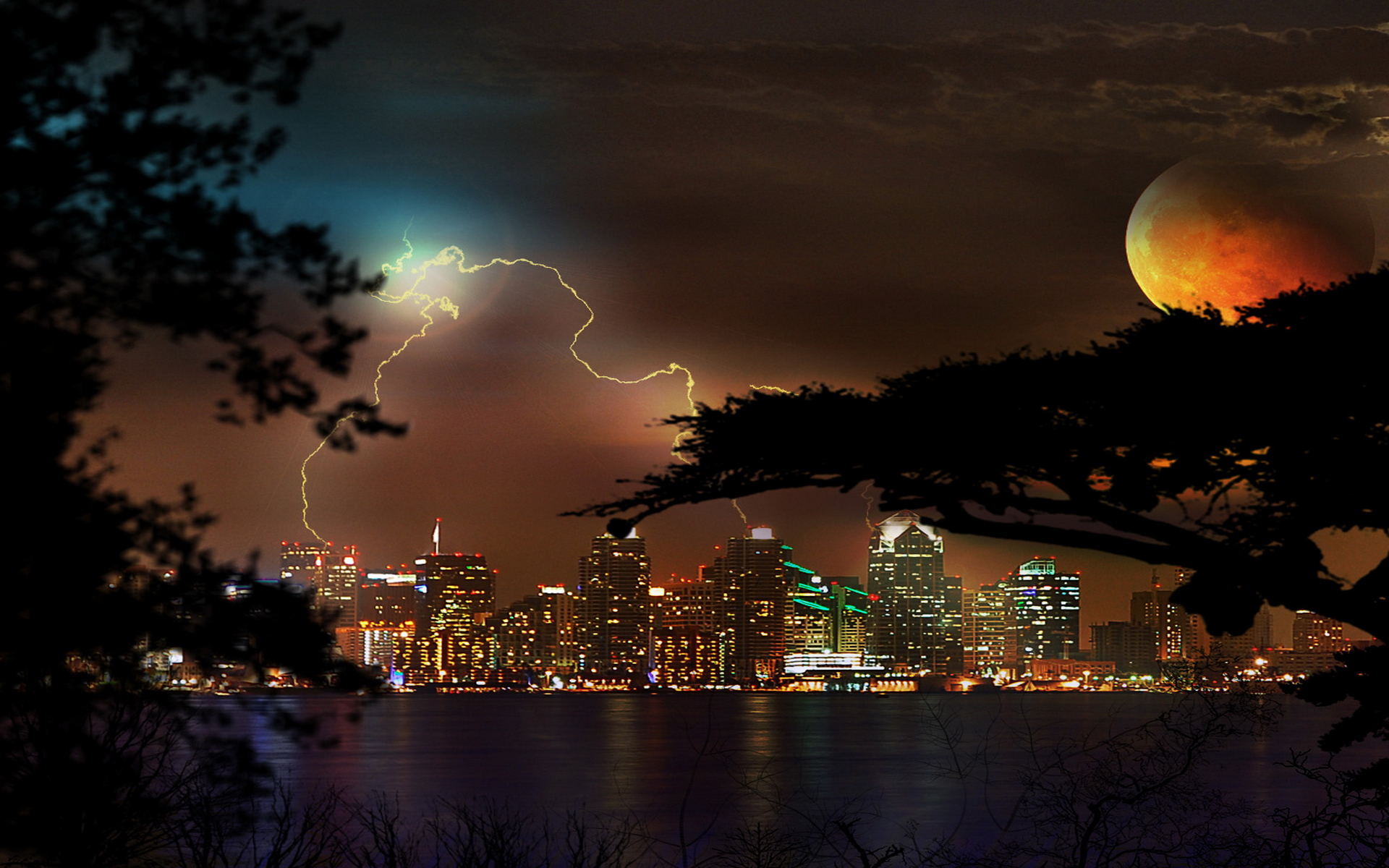 Wallpaper night city storm moon lights HD Desktop Wallpapers 1920x1200