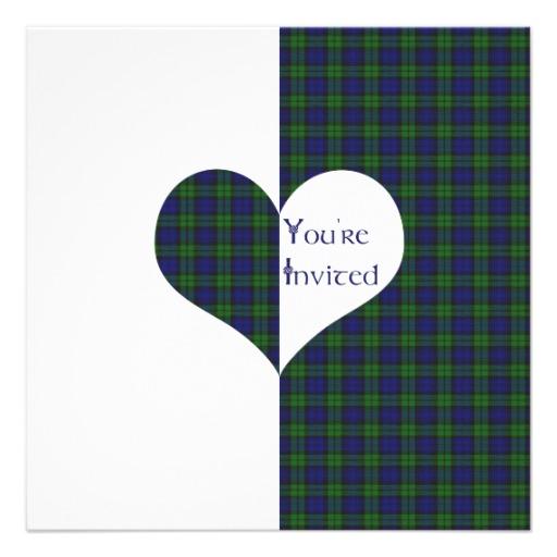 Wedding Invitation Black Watch Tartan Love Hearts 13 Cm X 13 Cm Square 512x512