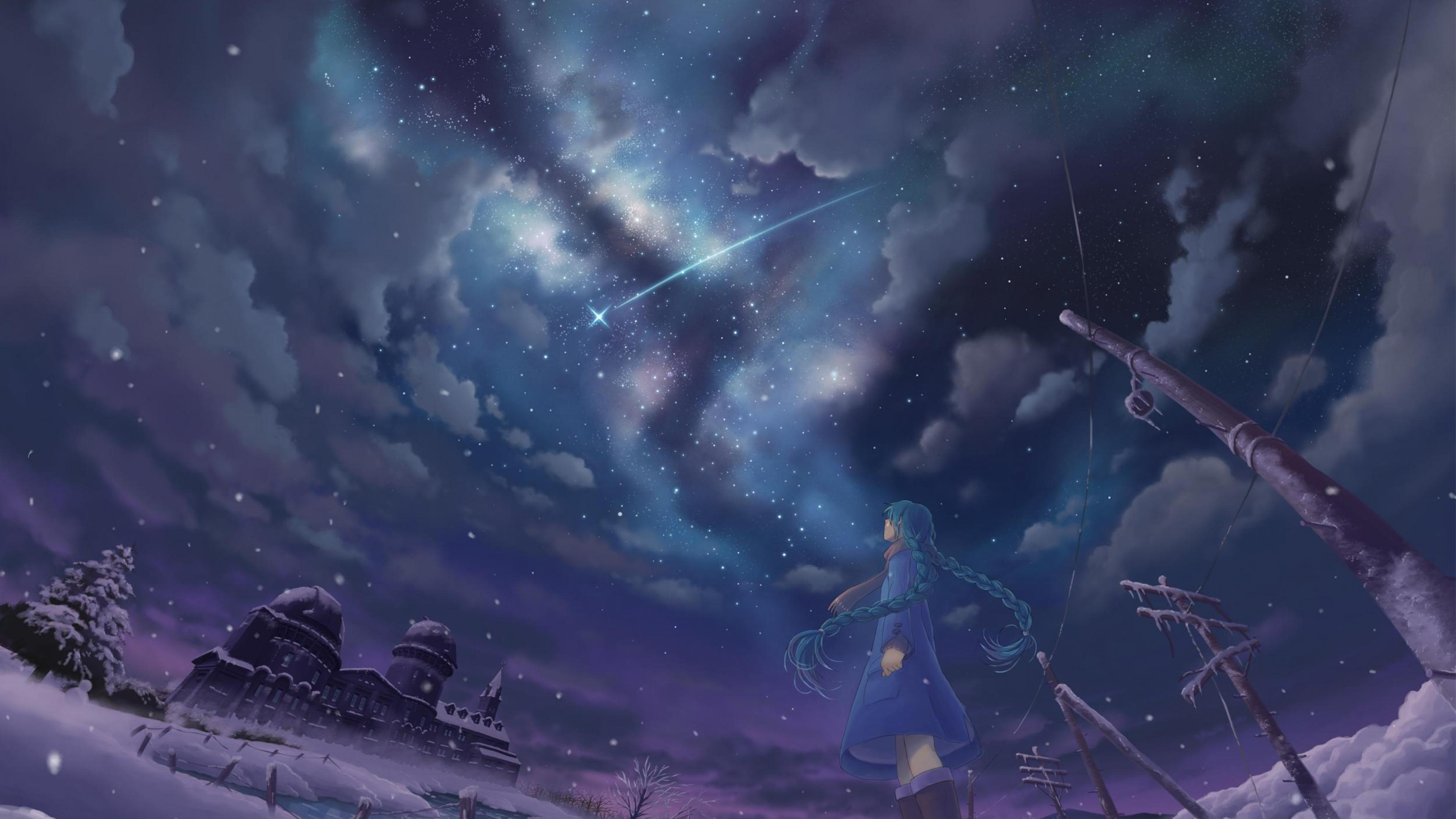 Shooting stars Night Snow Stars Winter Anime girls HD 3840x2160