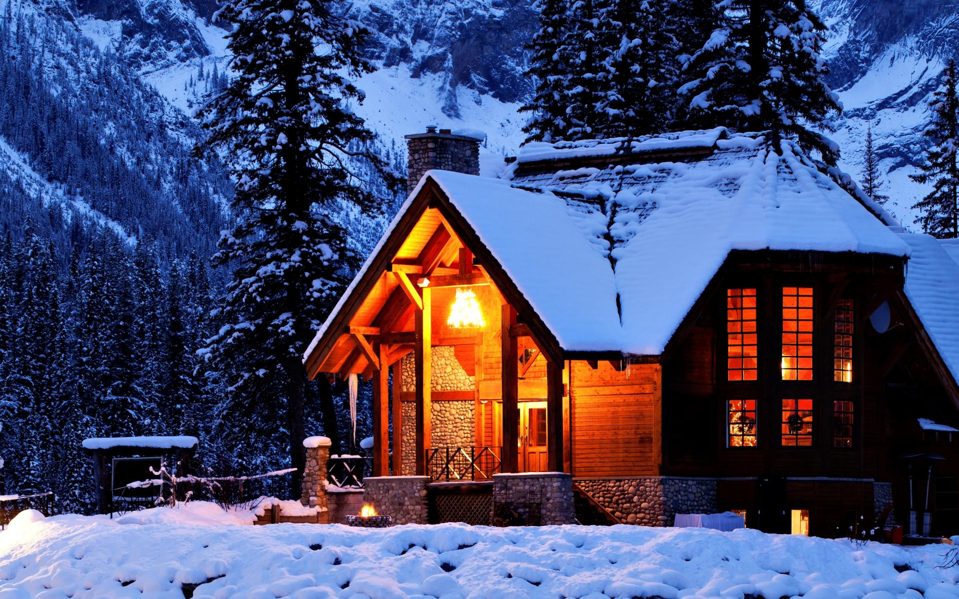 Tagged cabin mountains snow snowy cabins 1920x1200