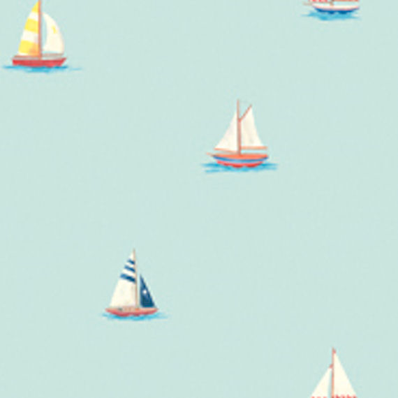 Blue Sailboat Wall Paper Wall Sticker Outlet 570x570
