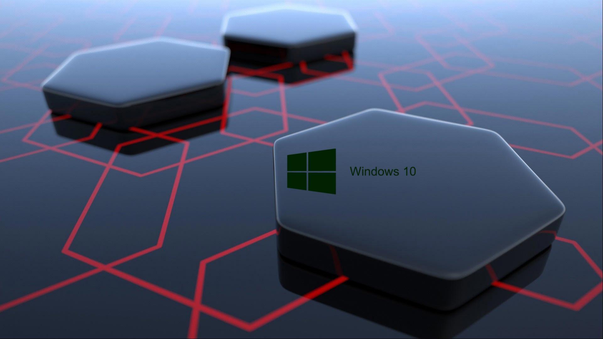 Windows 10 Desktop Image with 3d Art Black Hexagonal Wallpapers HD 1920x1080
