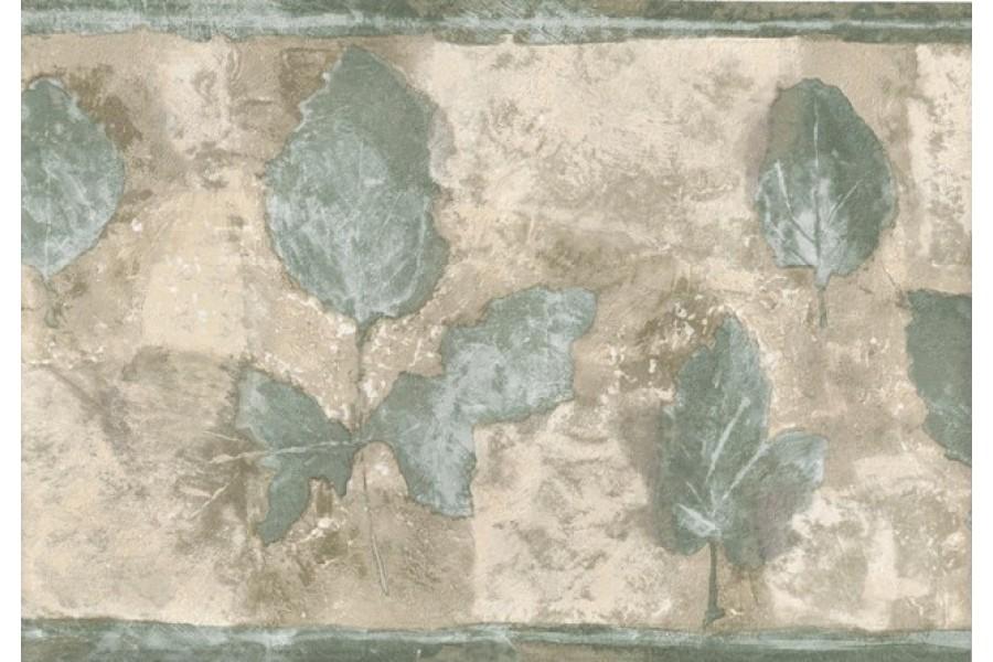 Green Cream Olive Leaf Wallpaper Border 900x600