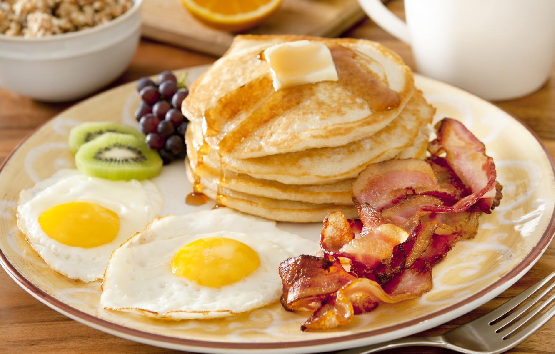 Wallpaper Breakfast fruit scrambled eggs fruit pancakes 1332x850