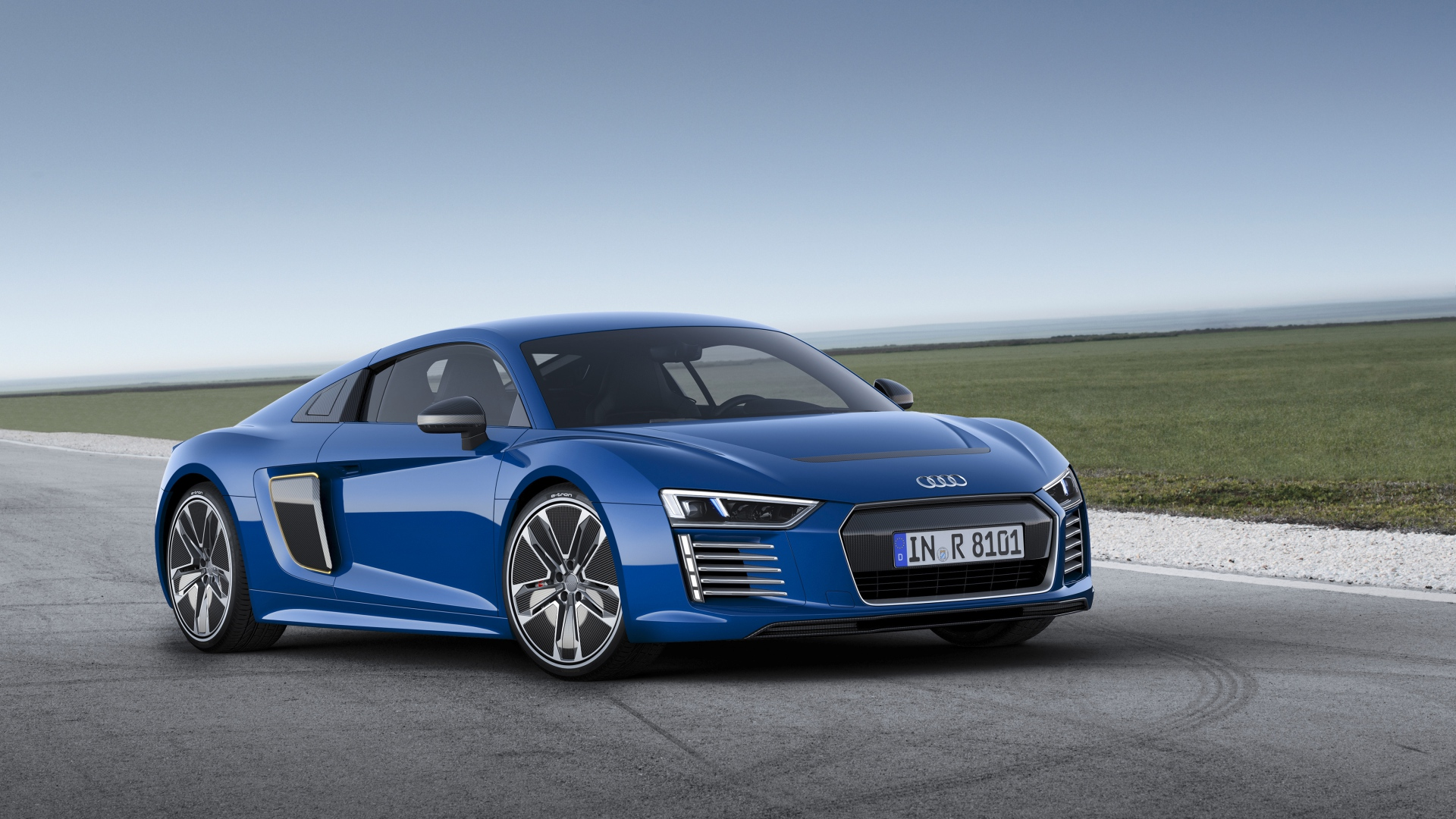 audi r8 e tron blue side view 1920x1080