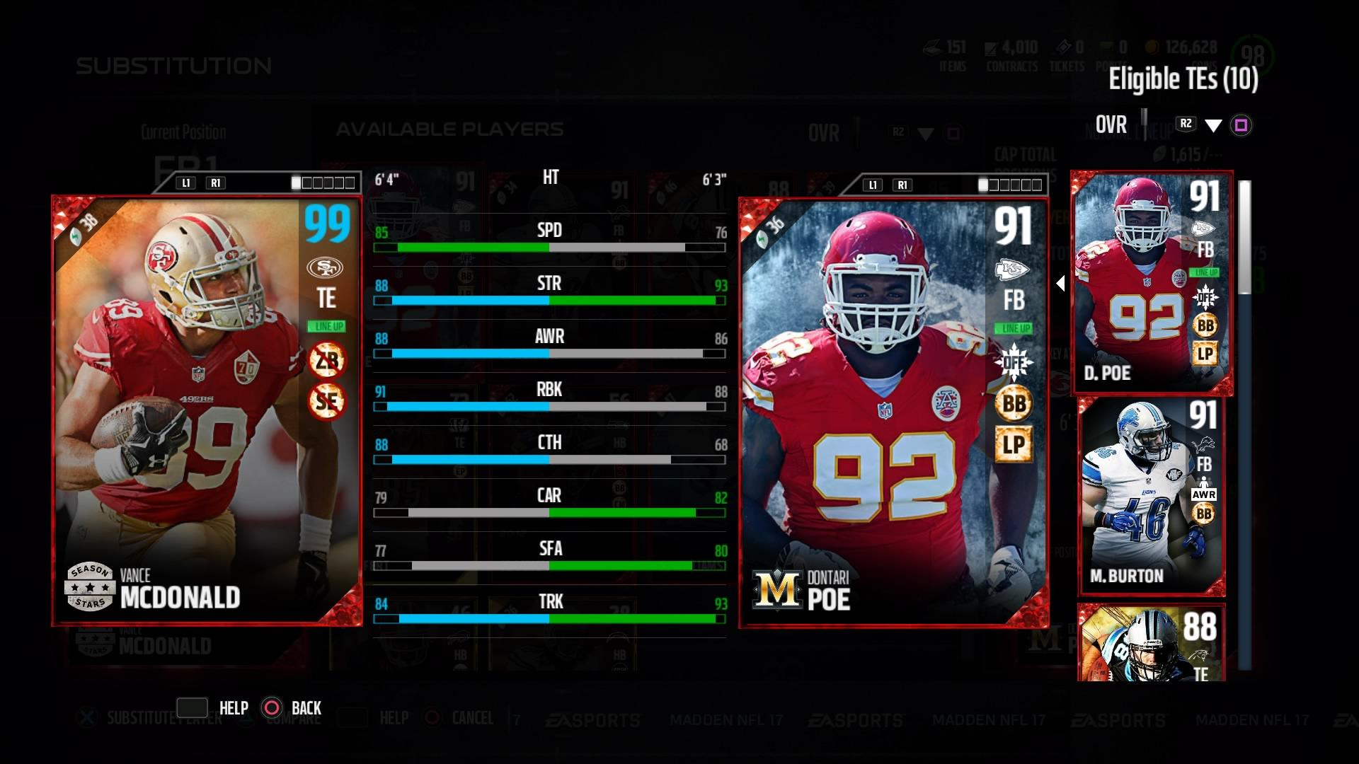 Vance MCDonald Season Stars 99 Ovr while out of position 1920x1080