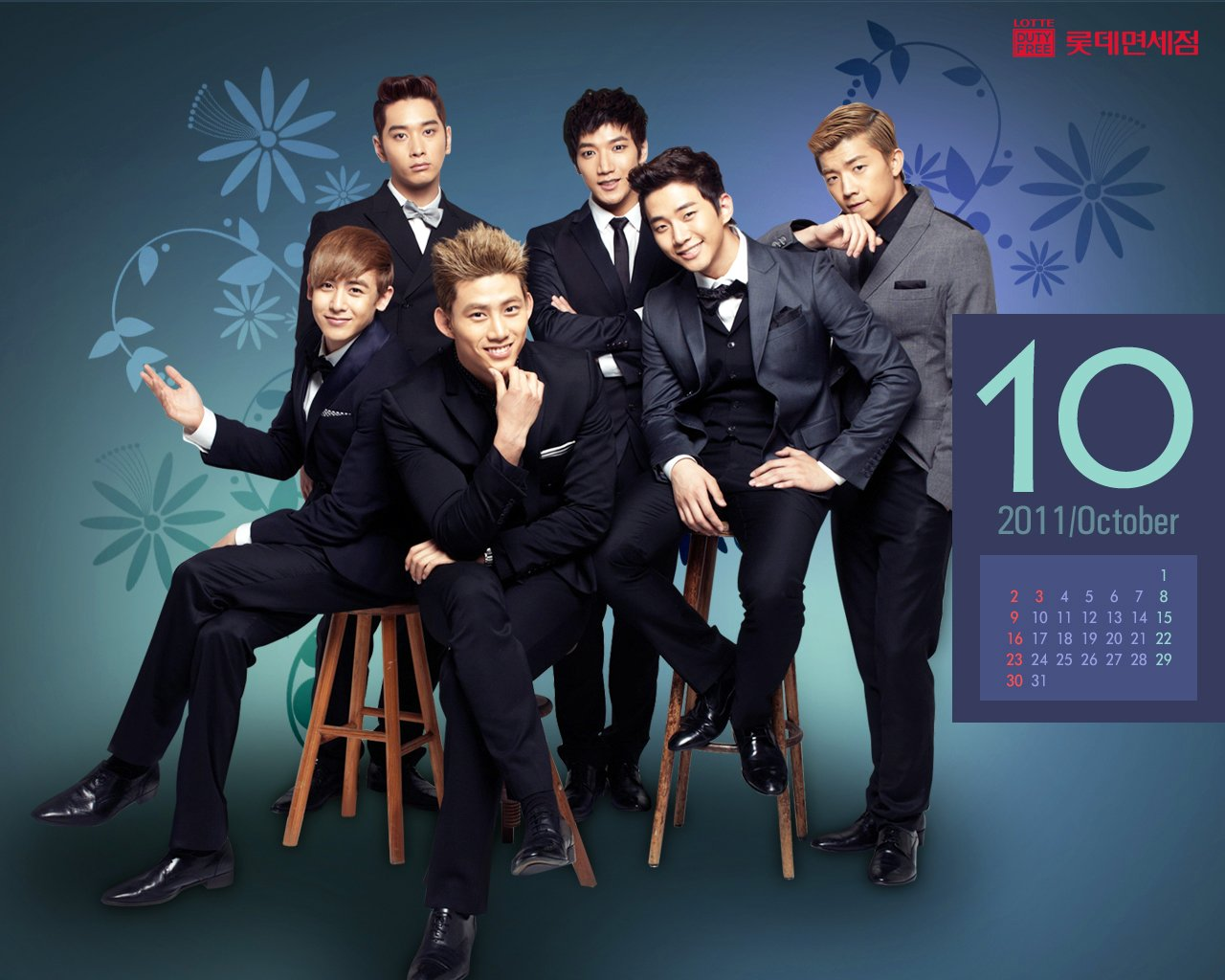 2PM [Poster] 2PM Lotte Duty Wallpaper [Calendar for October 1280x1024