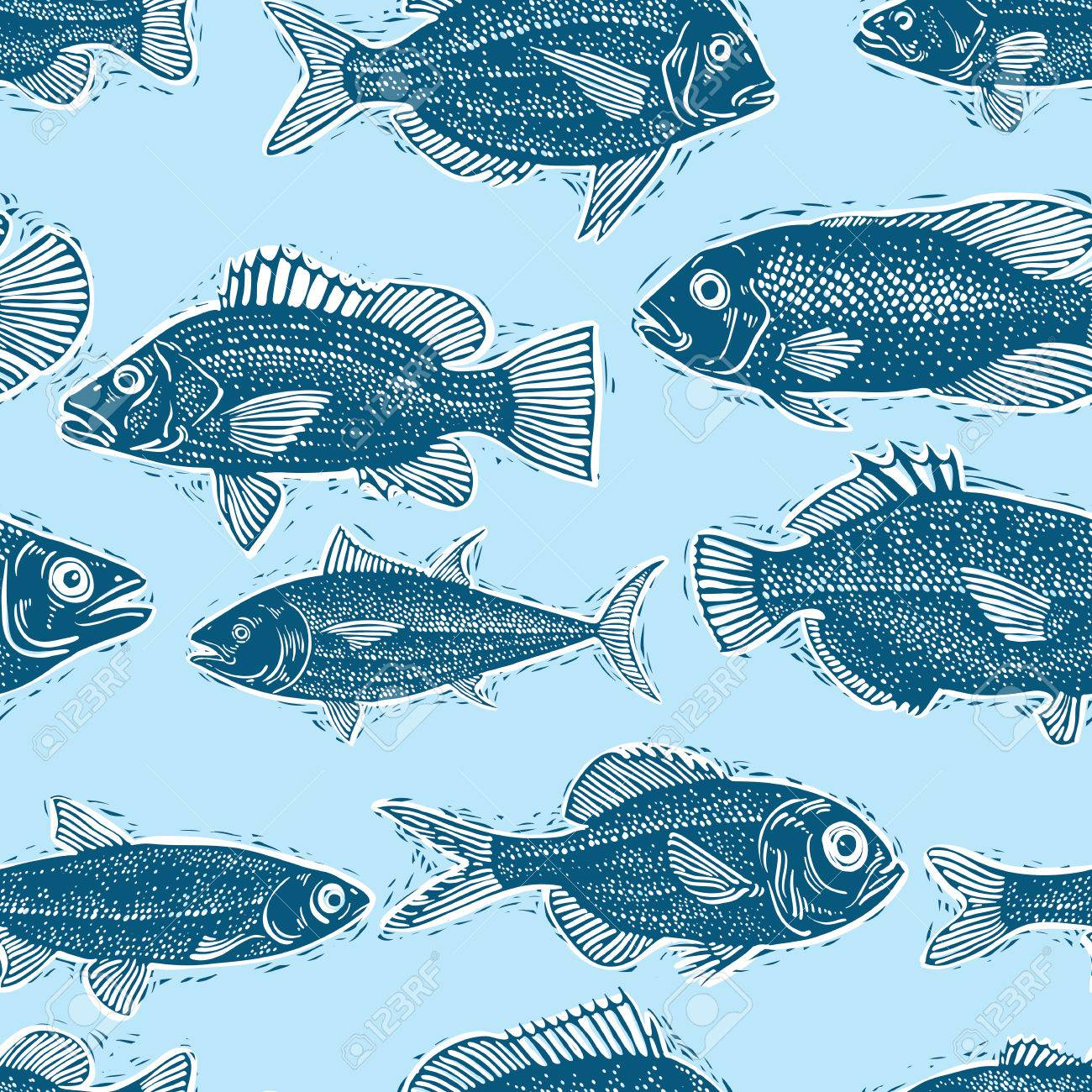Freshwater Fish Endless Pattern Vector Nature And Marine Theme 1300x1300
