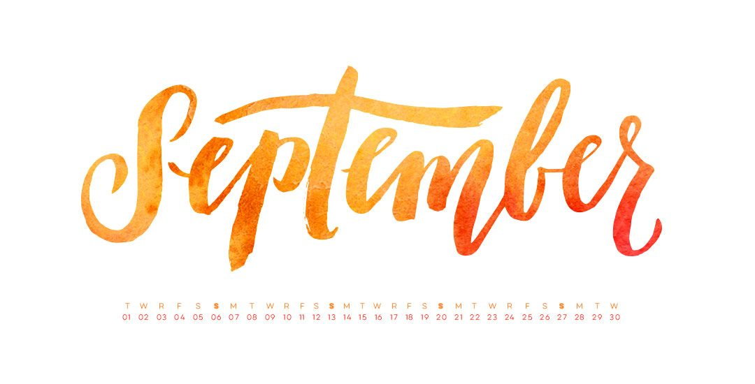 Freebie Hand Lettered September Desktop Wallpapers 1080x550