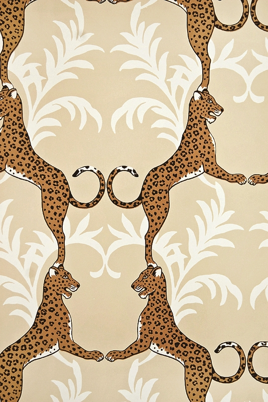 Cheetah Wallpaper Beige wallpaper with white floral motif entwined 534x801