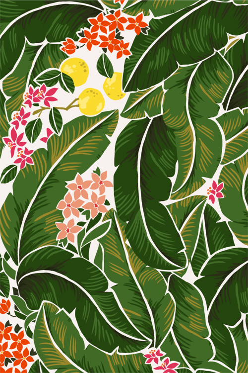 banana leaf wallpaper pattern leaves and 500x750