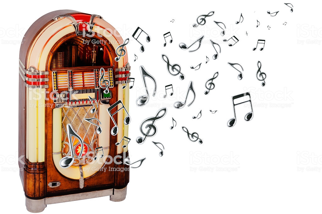 Retro Jukebox With Many Flying Musical Note On White Background 1024x683